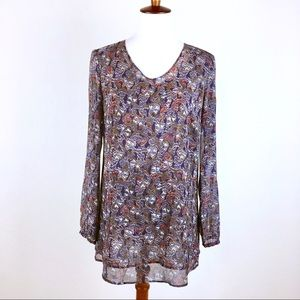 Cabi Tapestry Abstract Layered Tunic Blouse #157